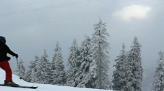 Skiers skiing in white perfect place with good snow - stock footage