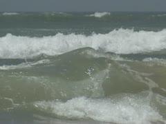 Breakers on ocean shore with rock 03 Stock Footage