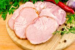 Delicacy different pork with vegetables Stock Photos