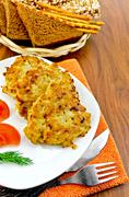 fritters chicken with bread on the board - stock photo