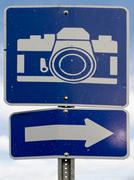 point of interest road sign with white camera icon - stock photo