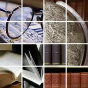 collage of library ambiance - stock illustration