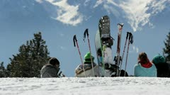 Group of young skiers resting Stock Footage