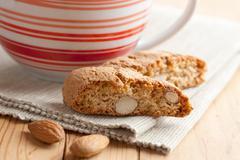 italian cantuccini cookies and coffee cup - stock photo