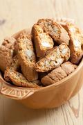 italian cantuccini cookies in bowl - stock photo