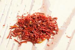 saffron spice - stock photo