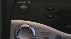 Push the button of audio system Stock Footage