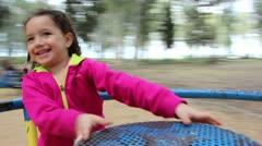 Girl on carousel Stock Footage