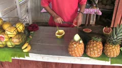 Bananas and other fruits at fruit stall in Cuba - stock footage