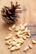 the pine nuts - stock photo