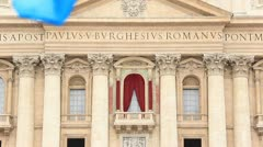 Pilgrims in st Peter's square during first Angelus of Pope Francis - stock footage