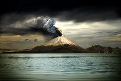 Stock Illustration of Picturesque scenery of erupting volcano - illustration