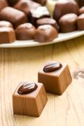 two chocolate pralines - stock photo