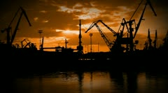 Seaport in the evening. Timelapse Stock Footage