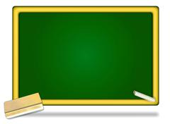 Eraser and Chalks on Wooden Frame Blackboard Stock Illustration