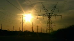 Sunset with Power Lines 4 Stock Footage