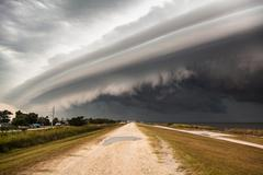 Massive Thunderstorm Shelf Cloud Structure Stock Photos