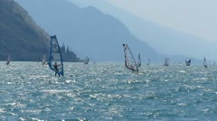 Windsurfing am Gardasee (Lake Garda) - Italy - stock footage