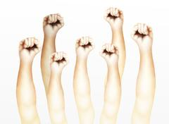 Human Hands Clenched Fists Raised Up in The Air Stock Illustration
