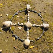 native american medicine wheel or sacred hoop - stock photo