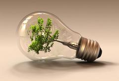 Green Light Bulb - stock illustration