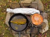 Cooking fish dinner on campfire Stock Photos