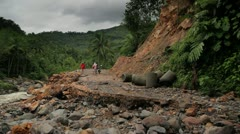 146 Collapse on mountain road in the jungle - stock footage