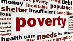 Poverty financial crisis message Stock Footage