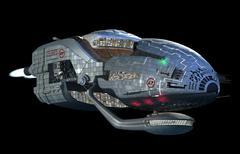 Futuristic 3D spaceship in deep space travel Stock Illustration