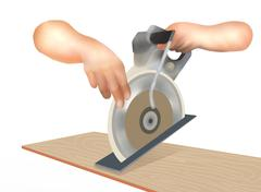 Human Hand Working with A Circular Saw Stock Illustration