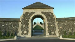 Entrance gate to the Tyne Cot Cemetery, Zonnebeke, Belgium. Stock Footage