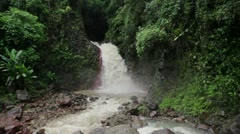 144 Pulangbato Waterfalls after typhoon Stock Footage