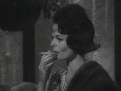 LADY SMOKING CIGARETTE 1 - B&W Stock Footage