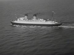 OCEAN LINER AT SEA 1 B&W - stock footage