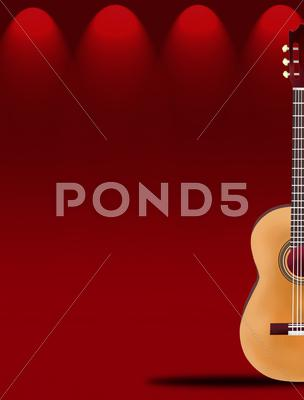 Stock Illustration of A Beautiful Classical Guitar on Red Elegant Theater Stage