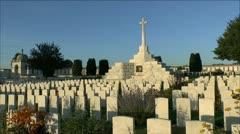Cross of Sacrifice, Tyne Cot Cemetery, Zonnebeke, Belgium. Stock Footage