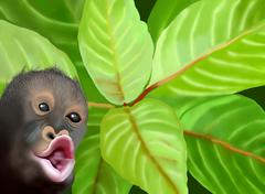Simpanssi Monkey vihreät lehdet tausta Piirros