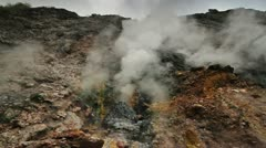 150 Volcanic smoke comes out from the rock Stock Footage