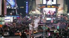 Times Square in New York City Manhattan NYC Smoke USA America Night Stock Footage