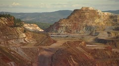Open cast seams exposed  - Rio Tinto - Spain Stock Footage