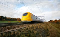 fast train with motion blur - stock photo