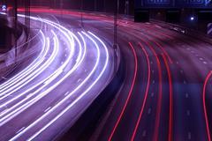 traffic on a freeway - stock photo