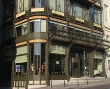Tilt up  Art Nouveau facade Old-England, Brussels (1899) 01 Stock Footage