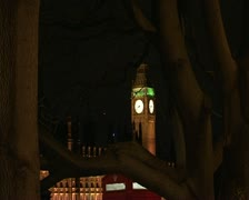 London Parliament and Big Ben at night Stock Footage