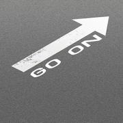 Asphalt Road Background with Signal Arrow and Word Go On - stock illustration