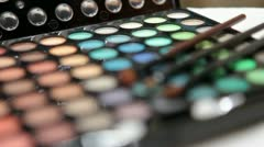 Cosmetic palette for make-up applaying Stock Footage