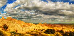 scenic view at badlands national park, south dakota, usa - stock photo