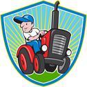 Farmer driving vintage tractor cartoon. Stock Illustration