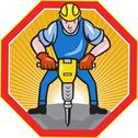 Construction worker jackhammer pneumatic drill. Stock Illustration