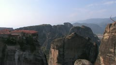 Rock Monasteries in Meteora, Greece Stock Footage